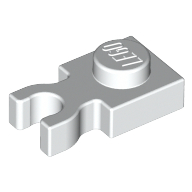 Plate, Modified 1 x 1 with Clip Vertical - Type 3 (thick U clip) - White