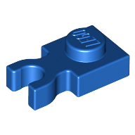 Plate, Modified 1 x 1 with Clip Vertical - Type 3 (thick U clip) - Blue