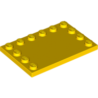 Tile, Modified 4 x 6 with Studs on Edges - Yellow