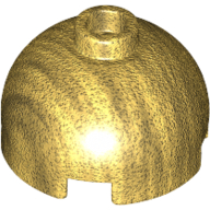 Brick, Round 2 x 2 Dome Top - Hollow Stud with Bottom Axle Holder x Shape + Orientation - Pearl Gold
