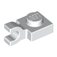 Plate, Modified 1 x 1 with Clip Horizontal - White