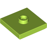 Plate, Modified 2 x 2 with Groove and 1 Stud in Center (Jumper) - Lime